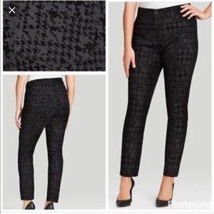 NYDJ Black Flocked Houndstooth Super Skinny Jeans